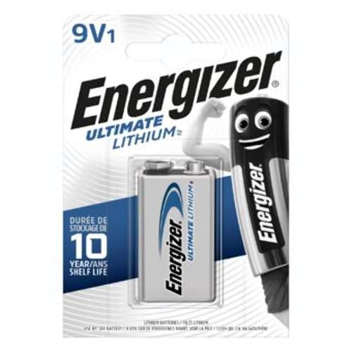 Baterie Energizer Ultimate Lithium 9V, 6LR61, A1604, 6LF22, 6F22, 6UM6, MN1604, L522, LR22, blistr 1 ks
