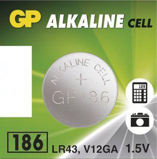 Baterie GP LR43, AG12, G12A, 186, LR1142, V12GA, 1,5V, blistr 1 ks