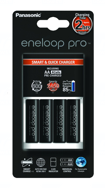 Panasonic BQ-CC16, BQ-CC55E rychlonabíječka + 4x AA Panasonic Eneloop Pro BK-3HCCE, BK-3HCDE, 2550mAh