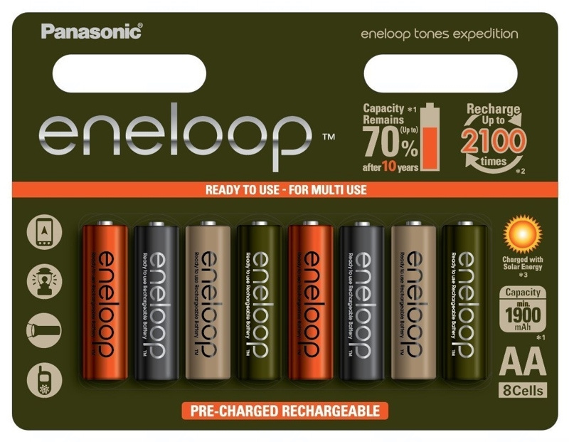 Baterie Panasonic Eneloop Tones Earth BK-3MCCE, AA 2000mAh, blistr 8ks