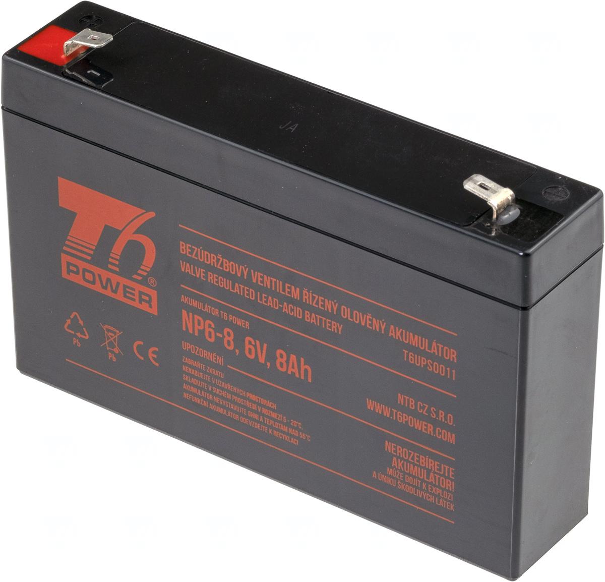 Akumulátor T6 Power NP6-8, 6V, 8Ah