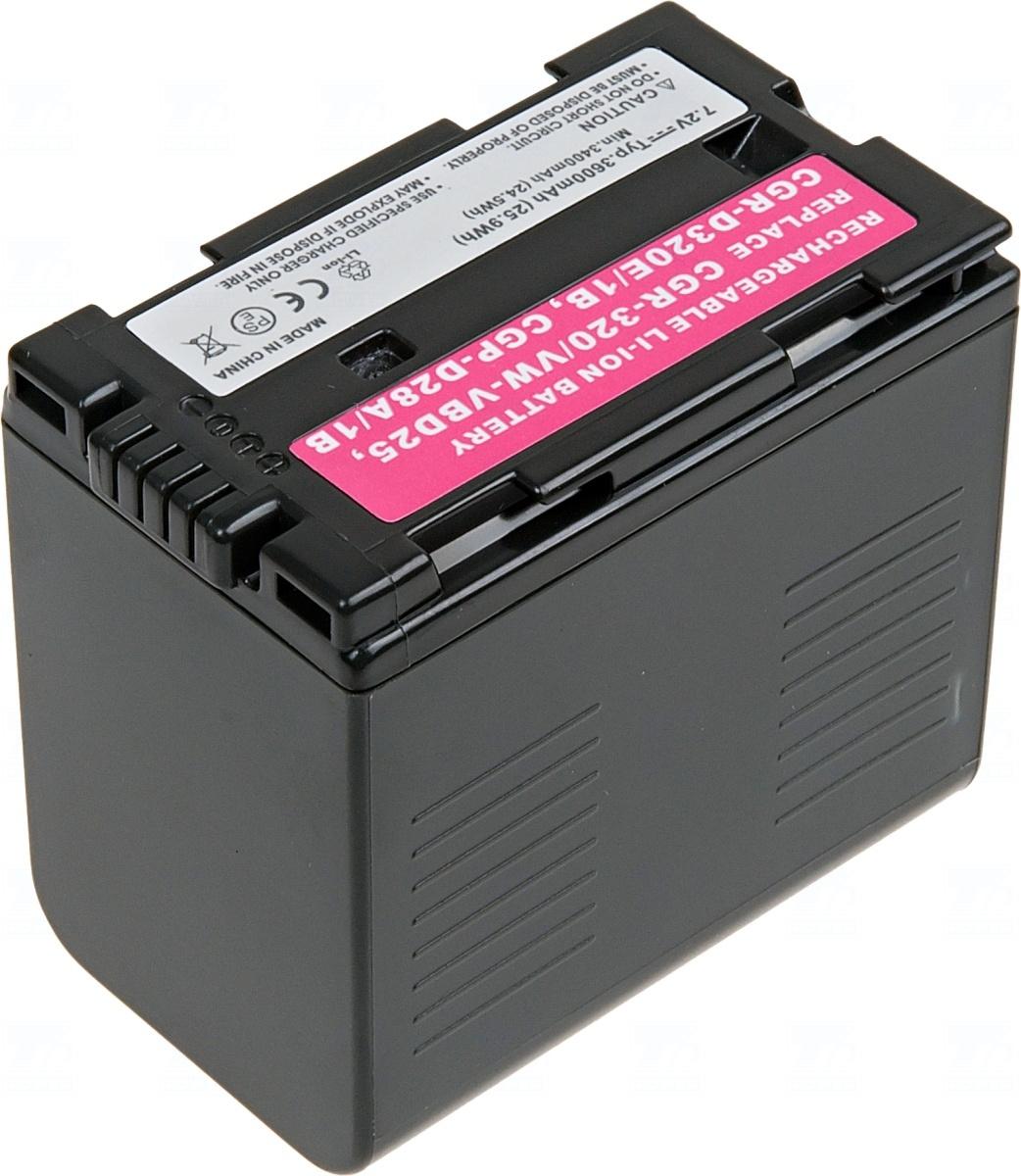 Baterie T6 power CGR-D320, VW-VBD25, CGR-D28A/1B, CGP-D28S, CGP-D28SE/1B, CGP-D320T/1B, CGR-D08, CGR-D08A/1B, CGR-D08R, CGR-D08S, CGR-D08SE/1B, šedá